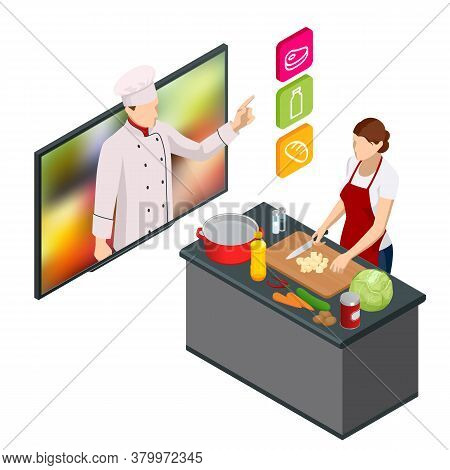 Isometric Cooking Education Online. Professional Cooking. Woman Chef Cooking While Streaming Online