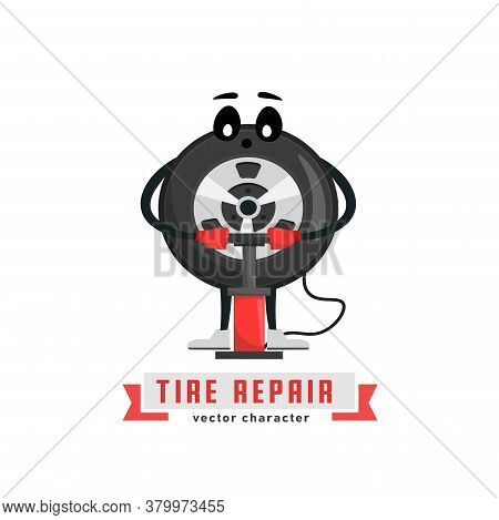 Tire Character Image. Wheels And Tyre Fitting Service. Transportation, Tire Repair, Computerized Bal