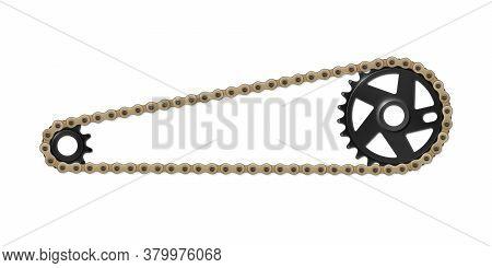 Drivetrain Bicycle Bmx. Black Sprocket, Cogwheel And Brown Chain. Vector Illustration Of Bike Parts