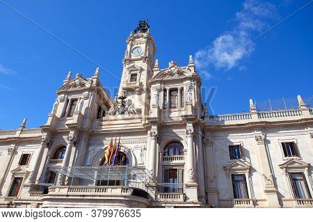 Valencia City Hall . Old Mayoral School In Valencia . Large Balcony In Baroque Style