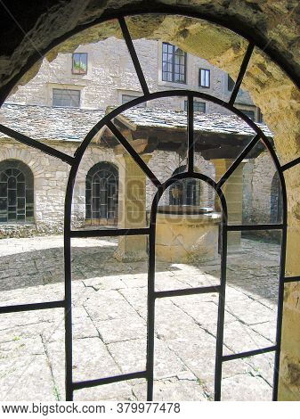 Amazing Framed Window At The La Verna Monastery, In Toscany, Italy. Medieval Walls