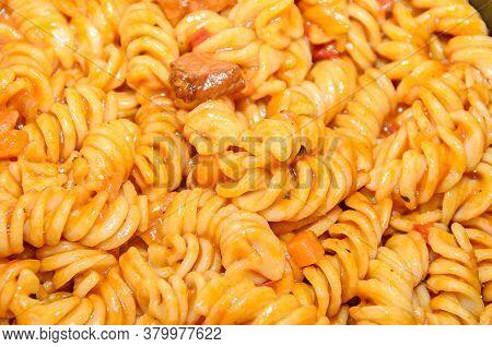 Pasta Spaghetti With Red Tomato Sauce,  Arrabiata With Mushrooms, Bacon, Parmezan