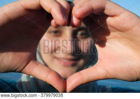 Istanbul, Turkey 02 March 2019:\\nwoman Making Heart With Her Hands