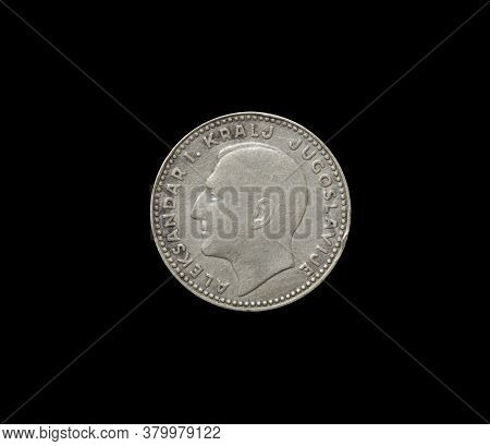 Reverse Of 20 Dinars Coin Made By Yugoslavia In 1938, That Shows Portrait Of King Alexander I