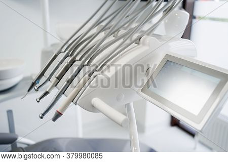 Close Up Dental Tools, Stomatological Instruments In Dentists Modern Stomatology Clinic