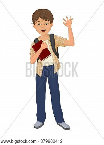 Happy Schoolboy With A Textbook. Isolated Object On A White Background. Cartoon Style. Object For Gr