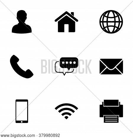 Icon Pack Vector. Icon Black On White Background. Contact Icon, Home Icon, Globe Icon, Phone Icon, C