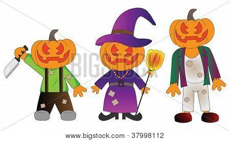 Happy Halloween Funny Pumpkin Head Costumes