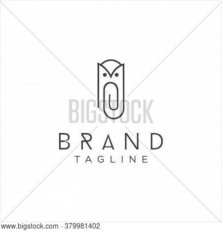 Owl Clip Logo Idea Icon Design Stock Vector. Animal Paper Clips Logo Design Template. Monogram Bird