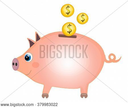 Piggy Moneybox With Golden Coins. Piggy Bank Concept Cartoon. Vector Illustration On White Backgroun