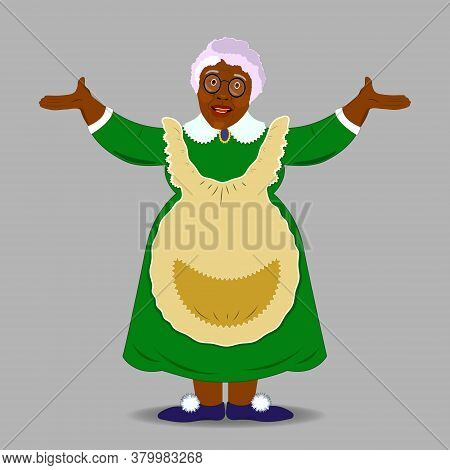 The flat style of a smiling black ,African grandmother. Granny with glasses . Friendly cartoon character Granny. Isolated. Vector