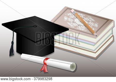 Graduation Mortar Boards, Books, Pencil And Diploma. Vector Illustration. Graduation Background