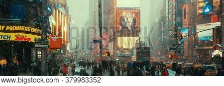 NEW YORK, USA - JAN 13, 2019: Times Square street view in heavy winter snow in midtown Manhattan.