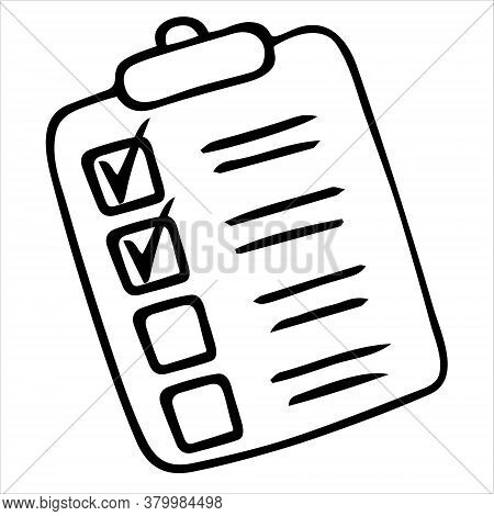 Taking A Survey Or Test. Sketch. Action Plan Point By Point. Check The Box. Voting Bulletin. Vector