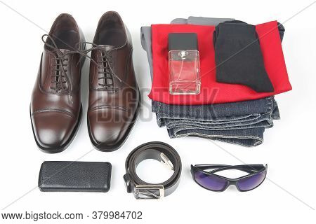 Classic Men's Shoes, Belt, Glasses, Eau De Toilette, Clothes And Mobile Phone On White Background