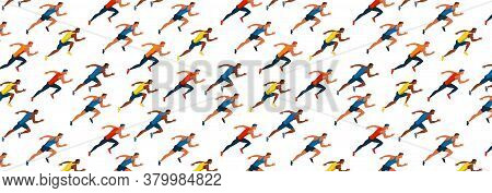 Athletes Run . Race Of Athletes. Young Men Are Jogging Vector Flat Design Pattern. Sports Activity