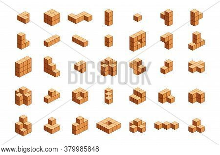 Wooden Cubes Isometric For Children Learning, Wood Cubes With Different, 3d Cubes Wood For Logic Cou