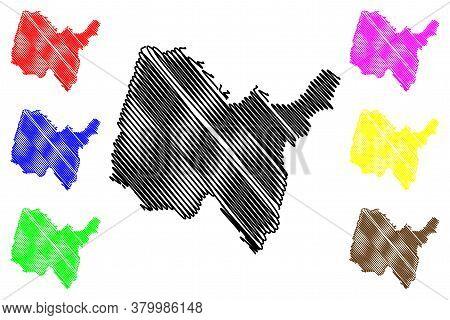 Ain Department (france, French Republic, Auvergne-rhone-alpes Region, Ara) Map Vector Illustration,