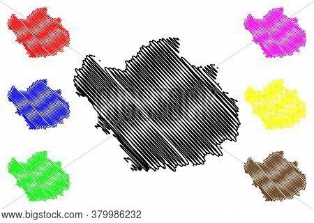 Aube Department (france, French Republic, Grand Est Region) Map Vector Illustration, Scribble Sketch