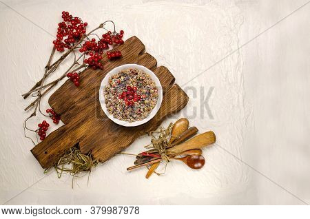 Christmas Ritual Porridge Made Of Wheat Grains. Ceremonial Grain Dish