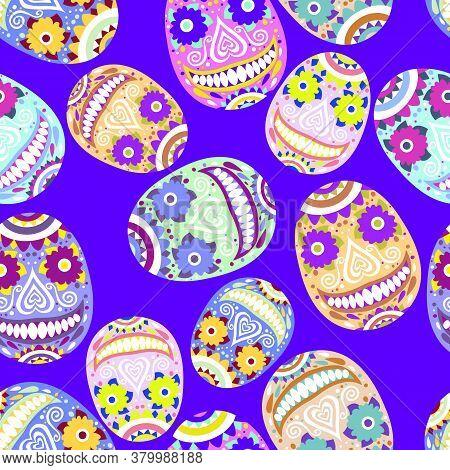 Smiling Colored Skulls Calavera On Blue Vector Seamless Pattern. Bold Colors Ornamental Smiling Skul
