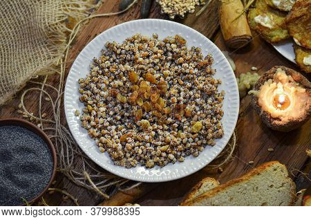 Pearl Barley Porridge On Wooden Background