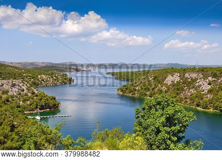 View From The Sibenik Bridge To The Canyon Of The Krka River Towards Adriatic Sea