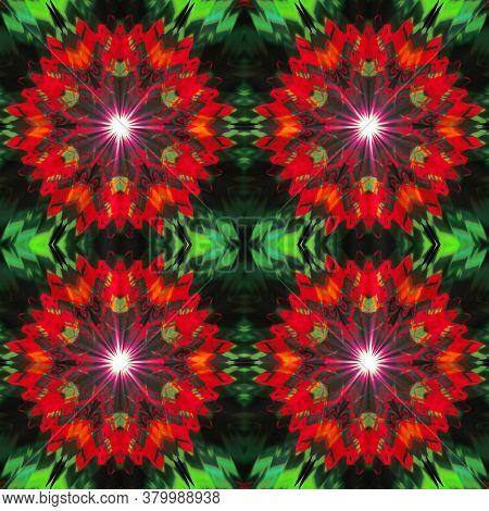 Red And Green Supernova Light Digital Illustration, Geometric Abstract Colorful Kaleidoscope Symmetr