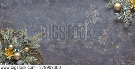 Christmas Background, Flat Lay, Corners Decorated With Fir And Decorations On Dark Textured Board. P