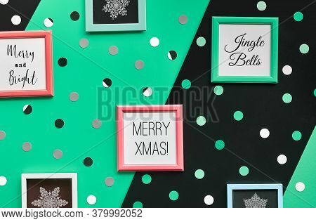 Abstract Geometric Xmas Background. Christmas Greeting Text And Snowflakes In Frames. Diagonal Backg