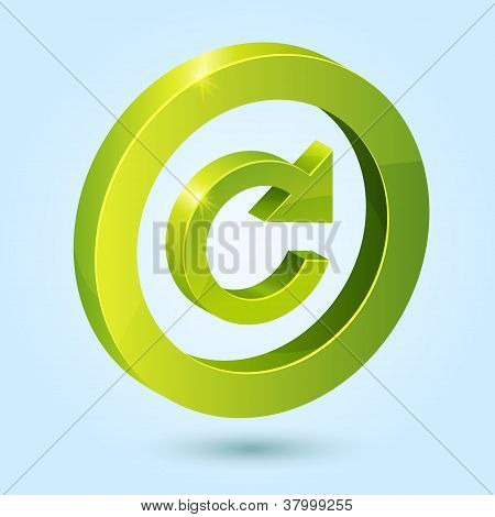 Green replay symbol isolated on blue background