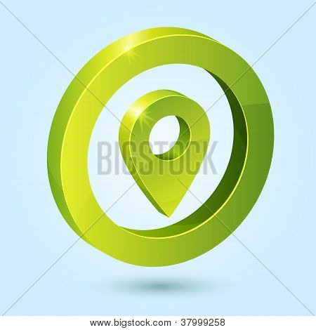 Green map pin symbol isolated on blue background