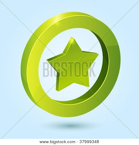Green star symbol isolated on blue background
