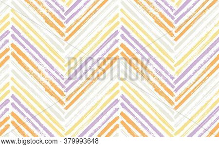 Messy Chevron Interior Print Vector Seamless Pattern. Ink Brushstrokes Geometric Stripes. Hand Drawn