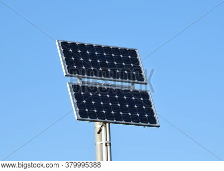 Solar Panel At The Road Side On The Pole