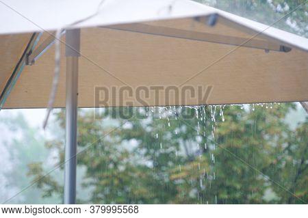 Close Up On Rain Drop From Umbrella
