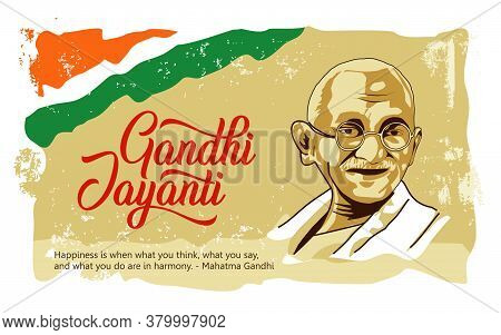 Gandhi Jayanti Wishes Vector Typography Vector Design With India Flag Old Paper