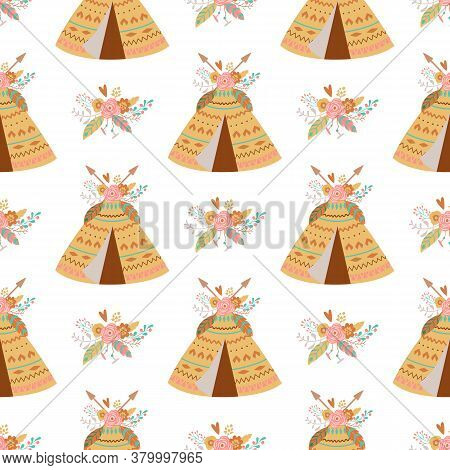 Seamless Indian Summer Floral Arrows And Teepee Illustration Kids Aztec Background Boho Chic Vector
