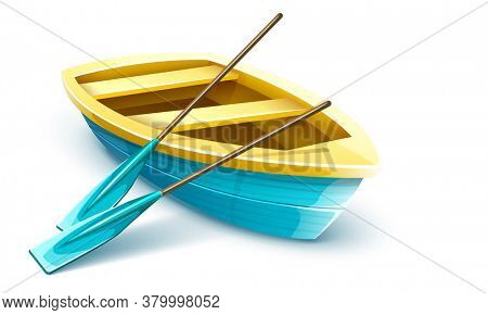 Wooden fisherman's boat with paddles for fishing or kayaking extreme sports and entertainment, isolated white background. Boat for fisherman, fishing transport with paddles. 3D illustration.