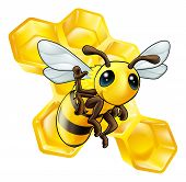 A cute cartoon waving bee with some honeycomb in the background poster