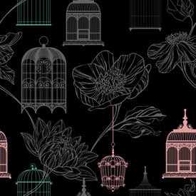 Pattern Vector Background With Flowers And Birdcages