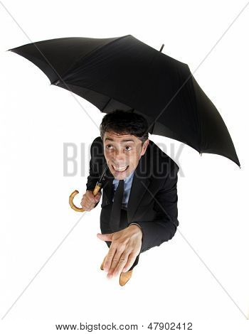 Humorous high angle full length portrait of a businessman sheltering under his umbrella checking on the rain holding out his hand to check for raindrops with a foolish grin, isolated on white