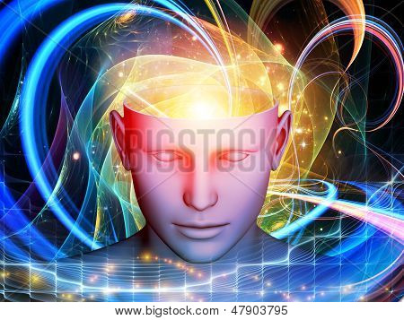 Arrangement of cutout of male head and symbolic elements on the subject of human mind consciousness imagination science and creativity poster