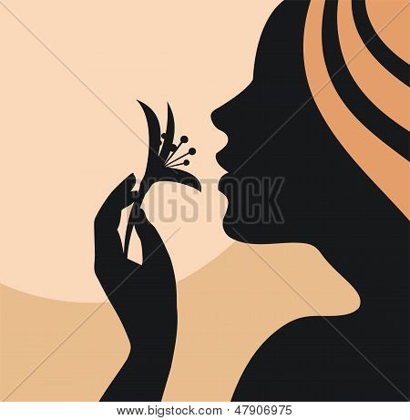 Young woman with flower in hand-vector illustration