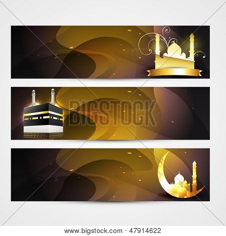 stylish set of ramadan and eid banners poster