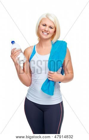 workout fitness woman with water bottle to quench thirst