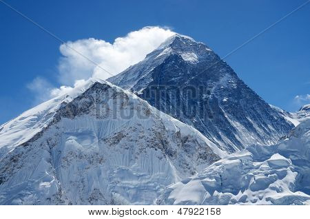 Summit of mount Everest or Sagarmatha - highest mountain in the world view from Kala Patthar on sunny day Nepal,Himalayas poster