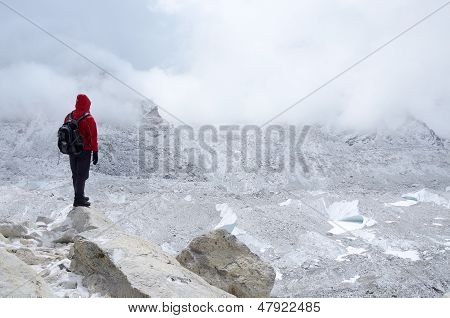 Mountaineer Standing Near Khumbu Icefall,Everest region,Nepal