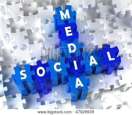 Creative 3D pieces of puzzle and word SOCIAL MEDIA