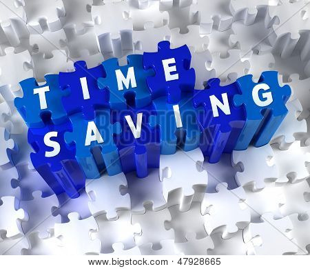 Creative 3D pieces of puzzle and word TIME SAVING
